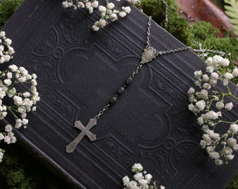 Silver Cross Black Rosary Necklace Antique Vintage
