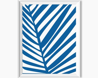 PALM LEAF PRINT, Palm Tree Decor, Tropical Decor, Botanical print, Blue leaf print, Blue botanical art, affiche palmier, affiche tropical