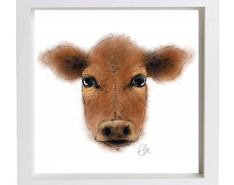 Framed cow print // jersey cow print // jersey cow painting // cow gifts // cow painting // cow portrait // cow drawing // cow art