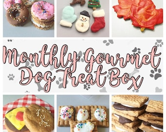Monthly Gourmet Dog Treat Box - Monthly Subscription Box - Fun Surprise Gift - Gourmet Dog Cookies - Seasonal - Holiday  - Birthday