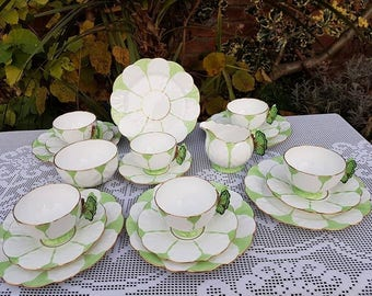 20 x Aynsley Butterfly handle Green & White tea service