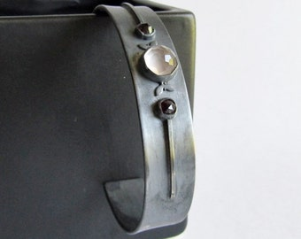 "Rose Quartz and Garnet Cuff Bracelet - Art Deco Inspired Jewelry - 6"" Cuff Bracelet - Oxidized Sterling Silver"