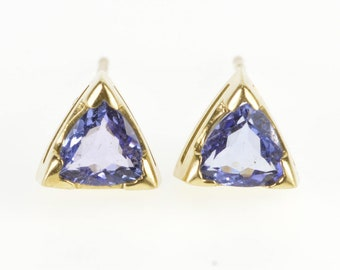 14K 1.50 Ctw Trillion Tanzanite Solitaire Stud Earrings Yellow Gold