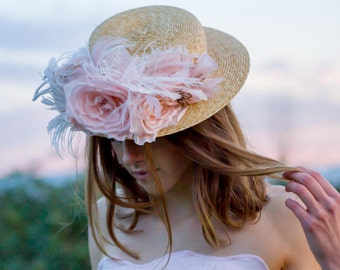 Rose Garden Straw Boater, Pink Roses, Flower Hat, Millinery