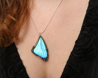 Real Butterfly Pendant, Blue Morpho, Real Butterfly