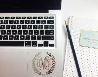 Silver Foil Monogram Laurel Wreath Monogram Decal Sticker - Laptop, iPhone, iPad, Planner