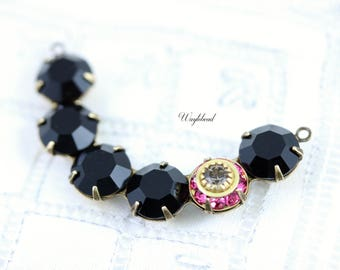 Rose Pink Black Diamond & Jet Black Vintage Rhinestone Crescent 41x8mm Opaque Connector Link Pendant - 1