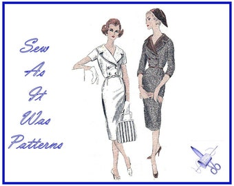 """1950s Vogue 9807 Double Breasted Notched Shawl Collar Slim Fitted Sheath Dresses Vintage Sewing Pattern Misses' Size 16 Bust 36"""" 92cm"""