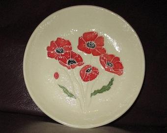 """Poppies!  Handmade Ceramic wall hanging   5""""                                              215"""
