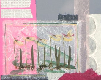 Garden Tour-Collage with handmade papers, real snowdrops and acrylic paint