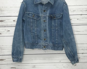 Vintage Lee denim Trucker Jacket 101-J Sanforized Denim Jacket PATD-153438 Union Made sz: 42R M/L