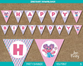INSTANT DOWNLOAD Abby party banner print yourself, Abby banner, Sesame street Abby bunting