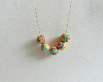 Handpainted Wood Necklace, Geometric Jewelry