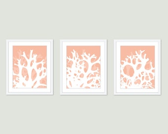 Coral Wall Art - Coral Print - Set of 3P rints Coral Art - Peach Wall Art - Beach House Decor - Nautical Decor - Aldari Art