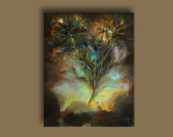 Feather of phoenix, print on canvas by original fantasy painting, elven art, rich colors, Firebird, gift for Her, fairy tale, mystic art