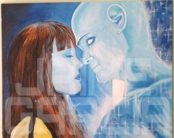 Watchmen Dr.Manhattan and Silk Spectre Acrylic Painting on Canvas Panel