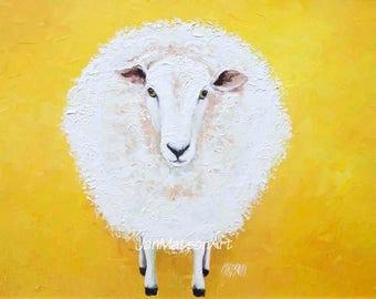 SHEEP painting, FRAMED oil painting, kitchen wall art, Animal Art, country home decor, kids wall art, Nursery Decor, Jan Matson