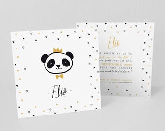 Announcement of birth or baptism Mr Panda little King of hearts! -Model Elio