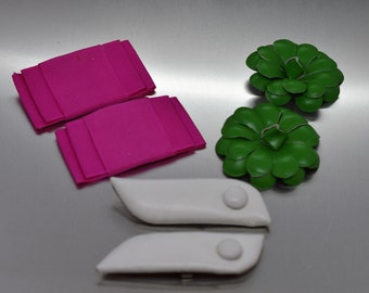 Lot of Three Vintage Shoes Clips in Leather and Ribbon Pink Green and White
