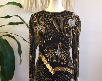 Beaded & Sequined Silk Blouse