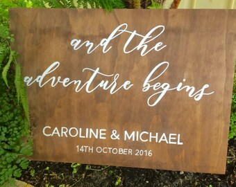 Wedding Welcome Sign - And so the adventure Begins
