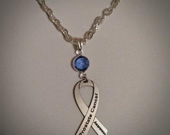 Prostate Cancer Awareness Necklace, w/ Swarovski Austrian Crystal, Ribbon Jewelry, Support Survivor Charity