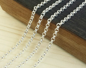 Silver 3.5mm Rolo Chain - 5 feet or 10 feet - Shiny Silver Plated - Soldered Links - Nickel Free