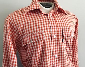 Size Med. 1970s Wrangler Western Shirt. Wrangler Cowboy Shirt. Rockabilly Shirt. Western. Rockabilly Shirt. Rodeo Shirt. Panhandle Slim.