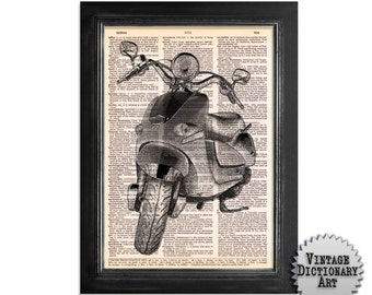 Vespa Scooter in Black & White - Vintage Dictionary Art Print - 8x10.5