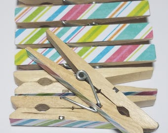 Striped Decorative Clothespins - Party and Shower Clothespins - Memo Board Clips - Set of 10 Chip Clips - Party Favors - Treat Bag Clips