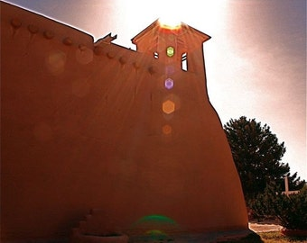 Architecture:  adobe cream church  RANCHO de TAOS architectural photo sunset light reflections Southwestern New Mexico