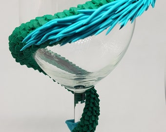 Sea Serpant style decorated glass