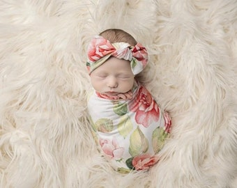 Infant Girl Rose Flower Blanket With Matching Knot Headband Two Piece Set