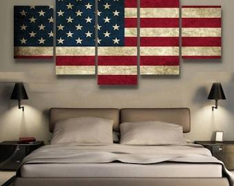 Rustic American Flag Canvas Set American Flag Canvas Set Proud to Be American Wall Decor American Flag Wall Print