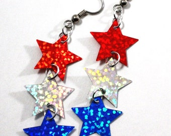 Sparkling Patriotic Earrings Red Silver/ White & Blue Star Holograms Dangling Plastic Sequins