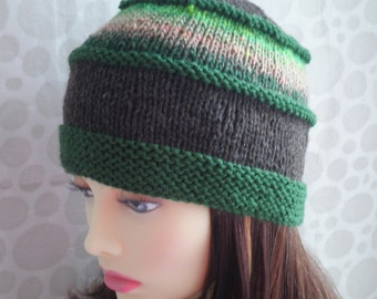 KNITTING PATTERN/VERMONT Womans Tweed and  Noro Wool Hat /Knit Straight/ Womans Beanie pattern/Knit Hat Pattern