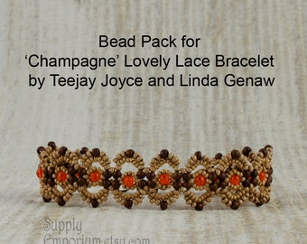 Champagne Lovely Lace Bracelet BEAD PACK BB12, Beads Only for Lovely Lace Bracelet By Teejay Joyce & Linda Genaw, Available Separately BB-12