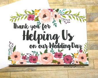 Thank You For Helping Us on our Wedding Day, Wedding Day Thank You Card, Attendant, Best Friend, Wedding Planner Thank You Card - MULBERRY