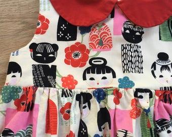 Girls' Japanese Inspired Print Sleeveless Empire Waist Dress with Red Peter Pan Collar