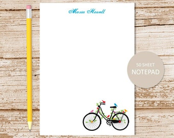 personalized bicycle notepad . vintage bicycle notepad . birds note pad . personalized stationery . bike stationary