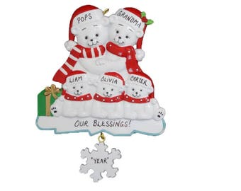 Grandparents Personalized Ornament with 3 Grandchildren - Best Grandparents Ever Personalized Ornament