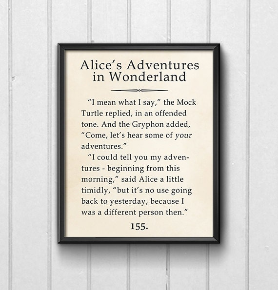 Printable Alice In Wonderland Quotes: Book Page Wall Art Alice Adventures In Wonderland Quote