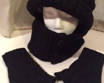 Up-cycled black wool cable knit hat, gaiter, fingerless gloves, lined in cotton print