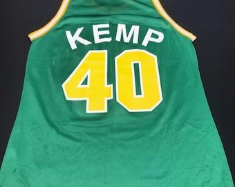 Vintage Green Seattle Supersonics Shawn Kemp Champion Basketball Jersey