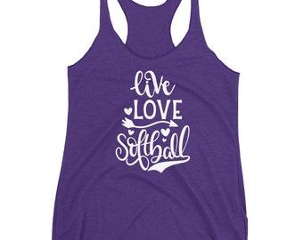 Live Love Softball Women's Racerback Tank, Softball Tank, Ladies Softball Shirt, Softball Mom Top, Girl Softball Shirt, Softball Player Gift