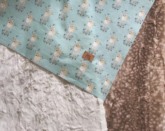 Teal Fawn Blankie - Choose your Backing