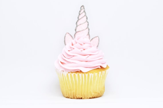 Unicorn Horn + Ears Cupcake Toppers - Light Pink + Silver Glitter - First Birthday Decor. Unicorn Party Decor. Birthday Party Decor. Baby.