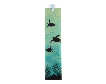 Paper bookmark hand-painted on both sides with a seabed