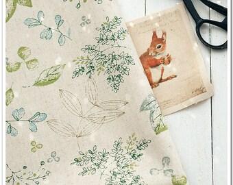 Cotton Linen Fabric Cloth -DIY Cloth Art Manual Cloth -Green Branches  55 x19 Inches