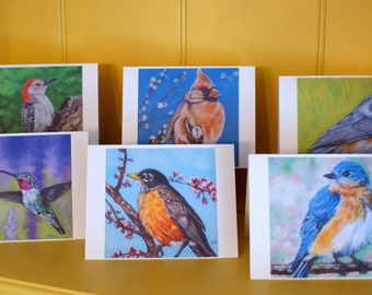Birds Of Spring Note Cards- Set of 6 from original paintings